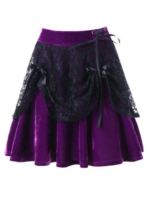 Velevt Criss Cross Lace Panel Overlay Skirt - PURPLE L