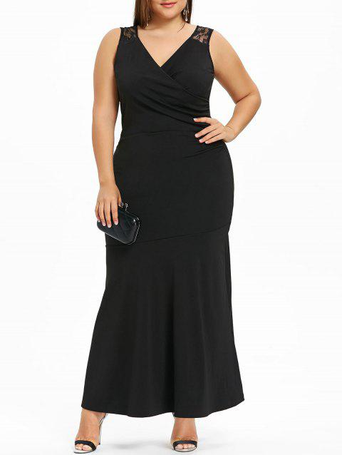 3c416ecf214 LIMITED OFFER  2019 Plus Size Lace Panel Maxi Evening Dress In BLACK ...