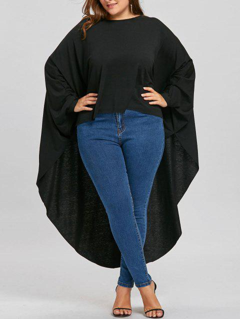 Plus Size High Low Batwing Sleeve Long T-shirt - BLACK 2XL