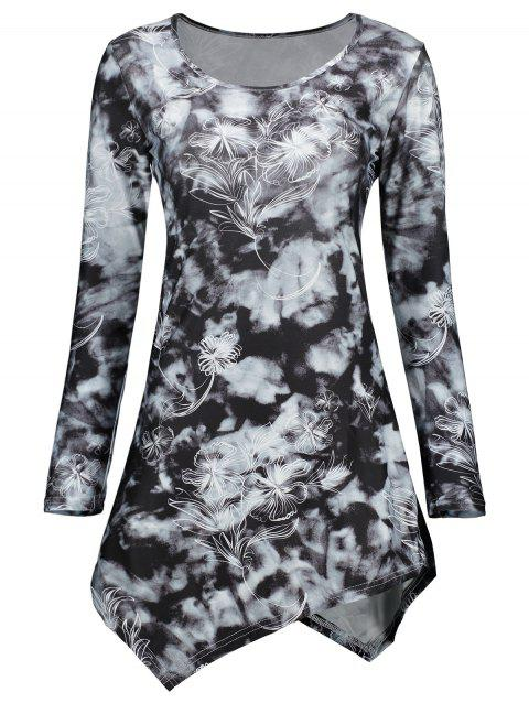 Tie Dye Long Sleeve Asymmetric Dress - BLACK 2XL