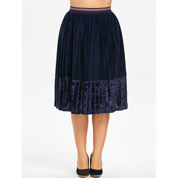 Plus Size Pleated Velvet Skirt - PURPLISH BLUE 3XL