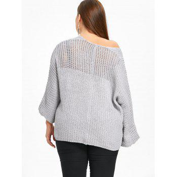 Batwing Sleeve Plus Size Chunky Sweater - LIGHT GRAY ONE SIZE