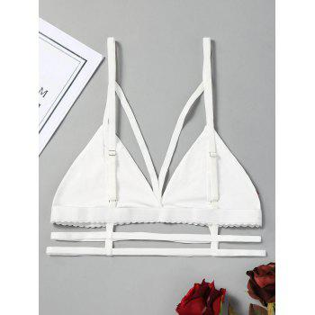 Embroidered Bandage Cutout Bralette - WHITE WHITE