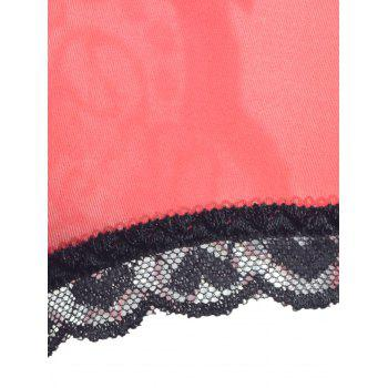Lace Trim Cut Out Sheer Panties - Rouge ONE SIZE