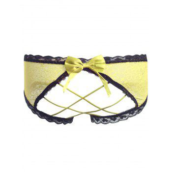 Lace Cut Out Sheer Panties - YELLOW YELLOW