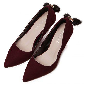 Mid Heel Pumps - WINE RED 35