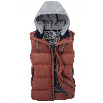 Contrast Drawstring Hood Puffer Vest - RED RED