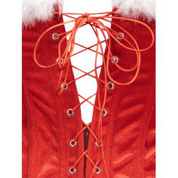Feathers Trim Christmas Lace-up Corset Vest - RED RED