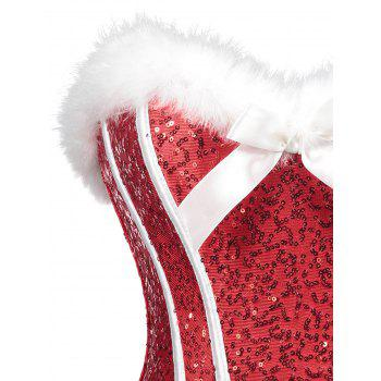 Christmas Sequined Feathers Trim Zip Corset - RED L