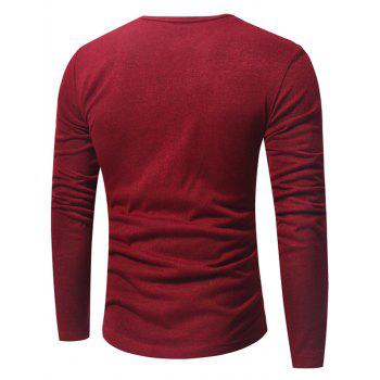 V Neck Classic Pullover Sweater - WINE RED XL