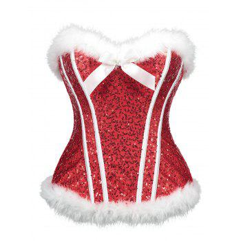 Christmas Sequined Feathers Trim Zip Corset - RED RED