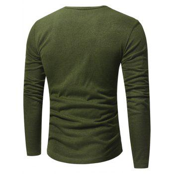 V Neck Classic Pullover Sweater - ARMY GREEN XL