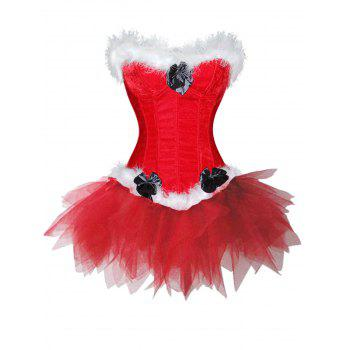 Lingerie Christmas Santa Claus Two Piece Corset Dress - RED RED