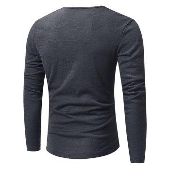 V Neck Classic Pullover Sweater - DEEP GRAY L