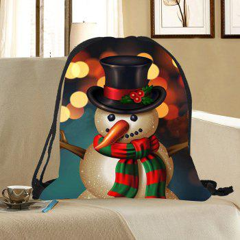 Drawstring Christmas Snowman Pattern Gift Storage Backbag - COLORFUL