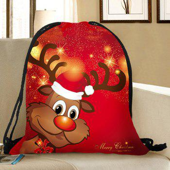 Christmas Elk Pattern Drawstring Candy Storage Backbag - RED