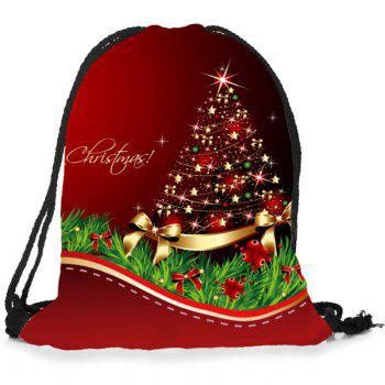 Christmas Ornaments Tree Patterned Drawstring Candy Storage Bag - RED/GREEN