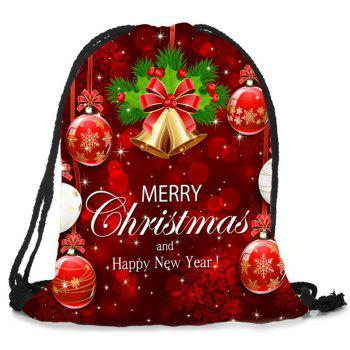 Christmas Decorations Pattern Drawstring Candy Bag Storage Backpack - DEEP RED
