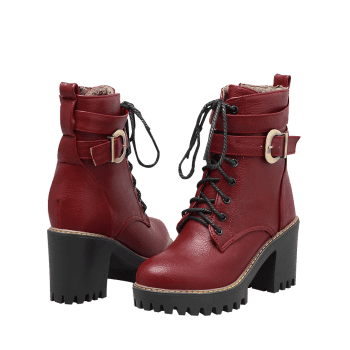 Platform Chunky Heel Ankle Boots - RED 39