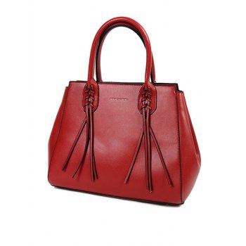 Braid Tassel PU Leather Handbag With Strap - RED