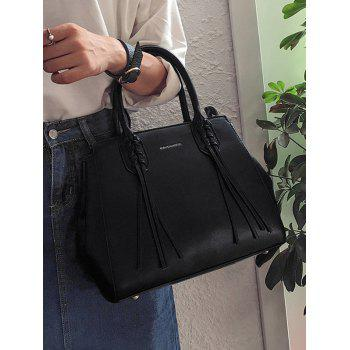 Braid Tassel PU Sac à main en cuir avec sangle - Noir