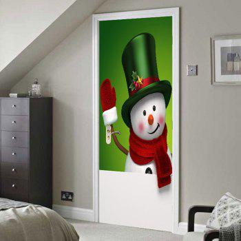 Magic Hat Snowman Pattern Environmental Removable Door Stickers - COLORFUL 38.5*200CM*2PCS