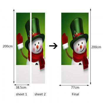 Magic Hat Snowman Pattern Autocollants de porte amovibles écologiques - coloré 38.5*200CM*2PCS