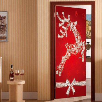 Environmental Removable Christmas Elk Printed Door Stickers - RED 38.5*200CM*2PCS