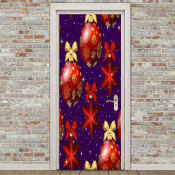 Eco-friendly Removable Christmas Baubles Pattern Door Stickers - BLUE/RED 38.5*200CM*2PCS