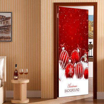 Decorative Snowy Christmas Balls Print Eco-friendly Door Stickers - RED/WHITE 38.5*200CM*2PCS