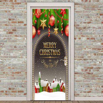 Snowscape Christmas Baubles Print Door Stickers - COLORFUL 38.5*200CM*2PCS
