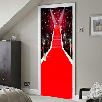 Environmental Removable Christmas Starlight Stage Printed Door Stickers - RED 38.5*200CM*2PCS