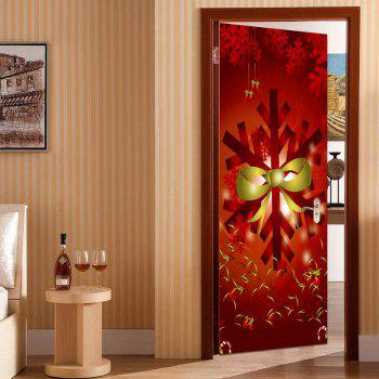 Environmental Removable Christmas Snowflake Bowknot Printed Door Stickers - COLORFUL 38.5*200CM*2PCS