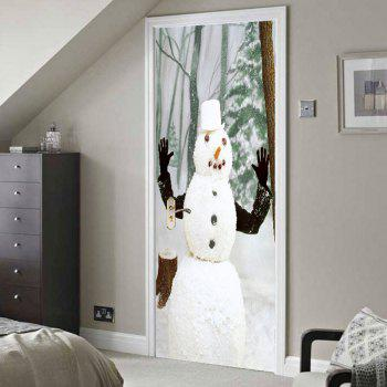 Environmental Removable Forest Snowman Printed Door Stickers - GRAY 38.5*200CM*2PCS