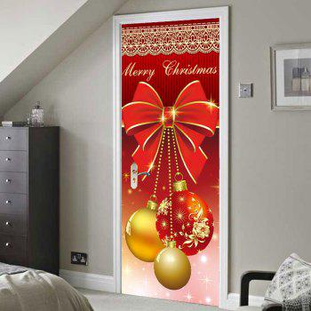 Christmas Ornament Balls Pattern Environmental Removable Door Stickers - COLORFUL 38.5*200CM*2PCS