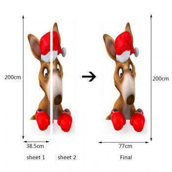 Christmas Kangaroo Boxer Pattern Environmental Removable Door Stickers - COLORFUL 38.5*200CM*2PCS