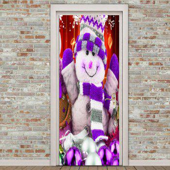 Environmental Removable Smile Snowman Pattern Door Stickers - COLORFUL 38.5*200CM*2PCS