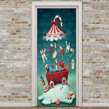 Candy Umbrella Merry Christmas Pattern Door Art Stickers - COLORFUL 38.5*200CM*2PCS