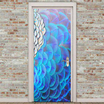 Peacock Opening Screen Pattern Door Cover Stickers - COLORFUL 38.5*200CM*2PCS