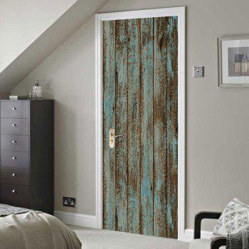 Wooden Door Patterned Door Art Stickers - WOOD 38.5*200CM*2PCS