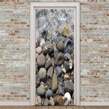 Cobblestone Water Patterned Door Art Stickers - SMOKY GRAY 38.5*200CM*2PCS