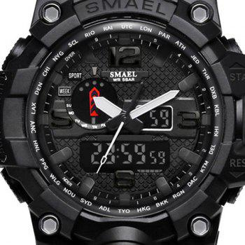 Multifuctional Quartz Digital Sport Military Watch - BLACK