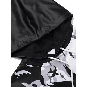Kangaroo Pocket Birds Print Pullover Hoodie - WHITE/BLACK 3XL