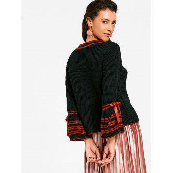 Bell Sleeve Stripe Chunky Sweater - BLACK ONE SIZE