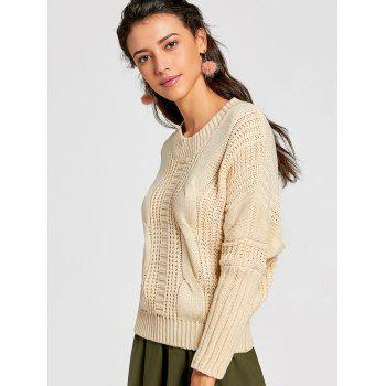 Lace Up Crew Neck Cable Knit Sweater - PALOMINO ONE SIZE