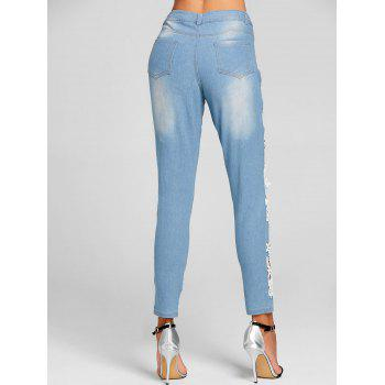 Lace Insert Hole Skinny Destroyed Jeans - CLOUDY CLOUDY