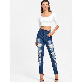 Distressed Lace Insert Skinny Jeans - DENIM BLUE S