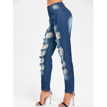 Distressed Lace Insert Skinny Jeans - DENIM BLUE DENIM BLUE