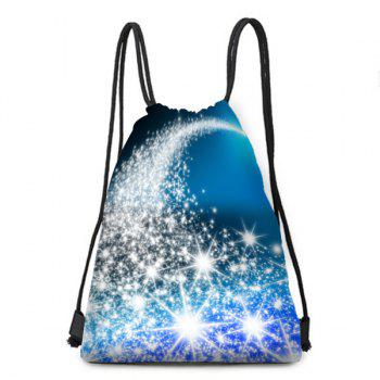 Starlight Pattern Christmas Drawstring Candy Bag Storage Backpack - BLUE