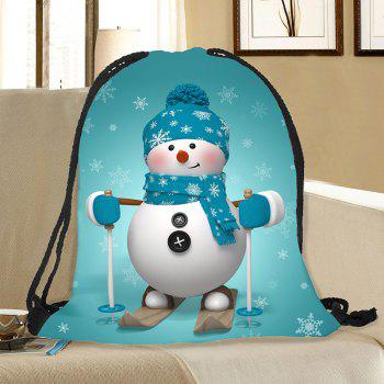Christmas Snowman Pattern Candy Gift Bag Drawstring Backpack - BLUE